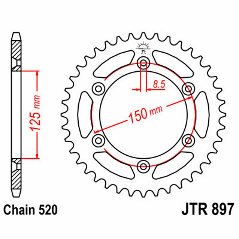 mx  crossdelar  drev och kedjor Drev BAK till Cross - KTM EXC 400 RACING - KTM EXC 400 RACING 2000 - JT SPROCKETS - 42 Kugg
