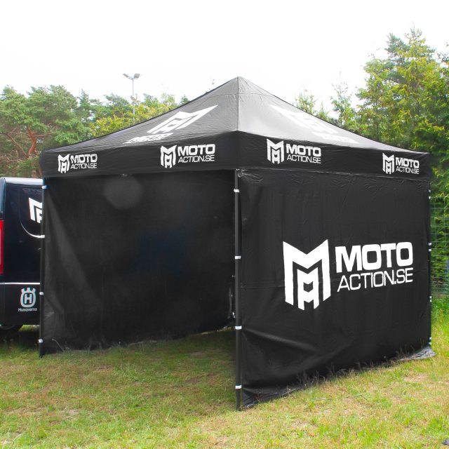 Depåtält 3x3 Inkl. väggar Svart MotoAction