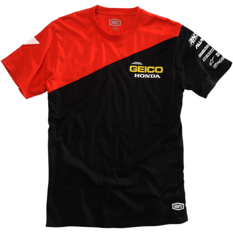 100% T-Shirt GEICO Röd/Svart