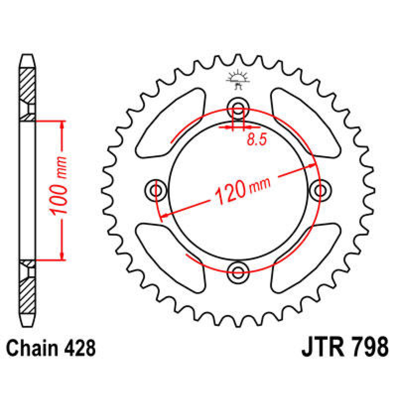 SPROCKET REAR 428 54T