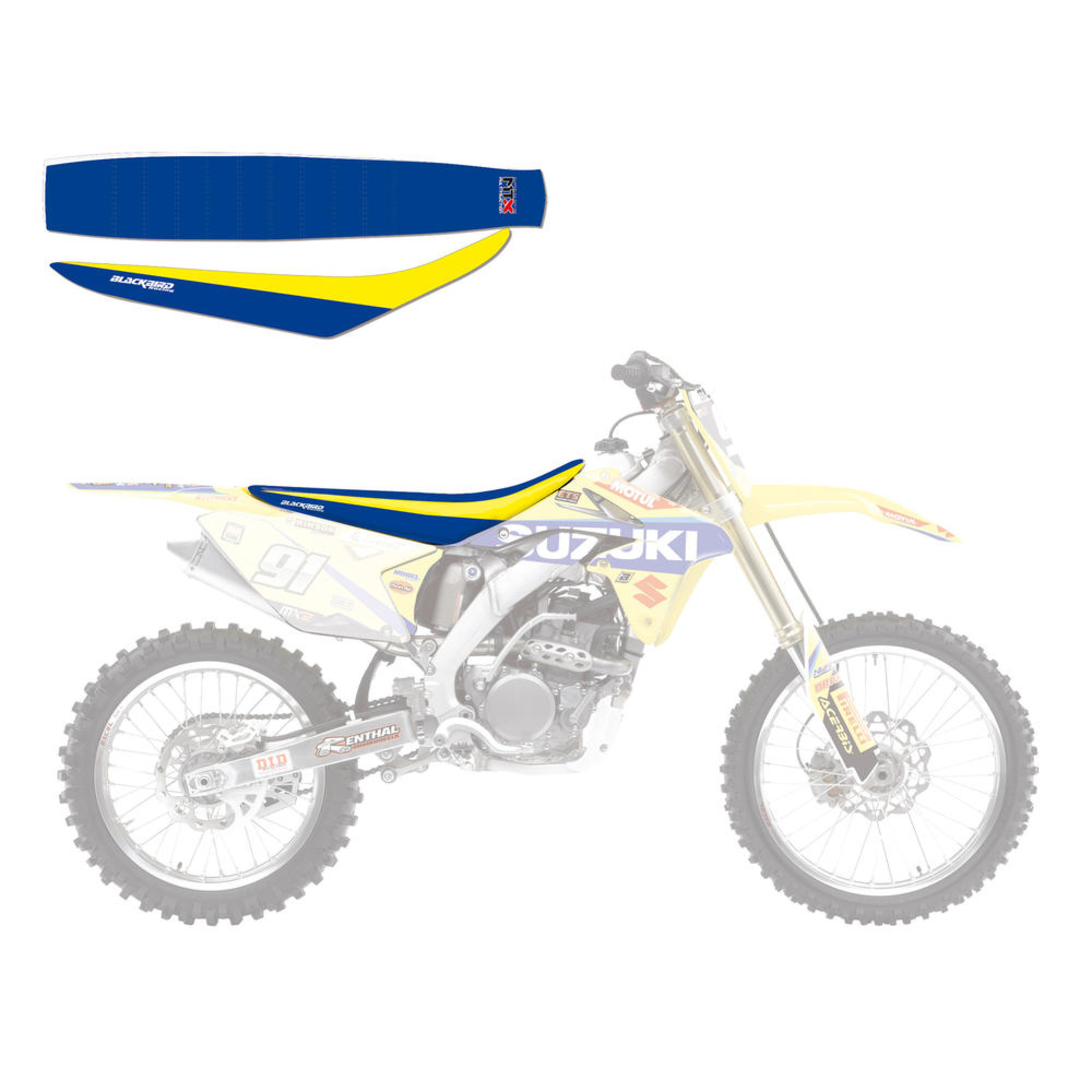 Sadelöverdrag Team Suzuki Replica Wold MX2 Gul/Blå Blackbird Racing