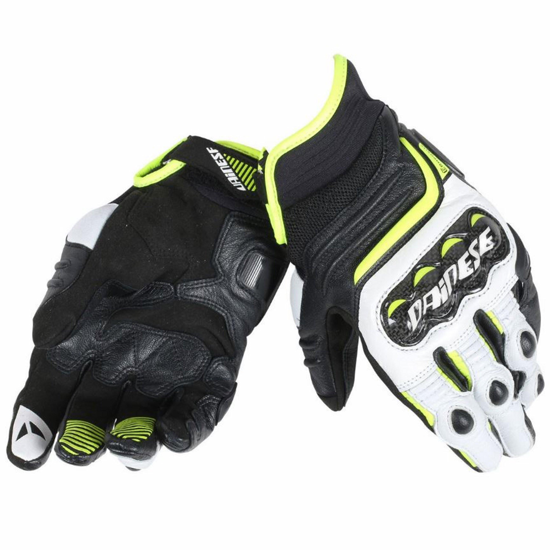 Dainese Mc-Handskar Carbon D1 Short Svart/Vit/Gul