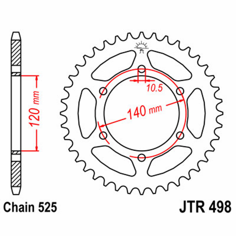 JT REAR SPROCKET 39 TEETH | STEEL